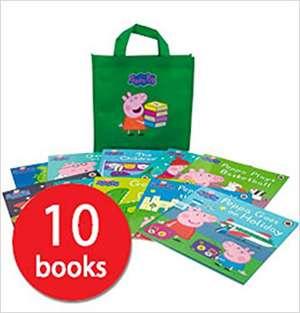 Colecție de cărți Peppa Pig. Set 10 cărți și sacoșă