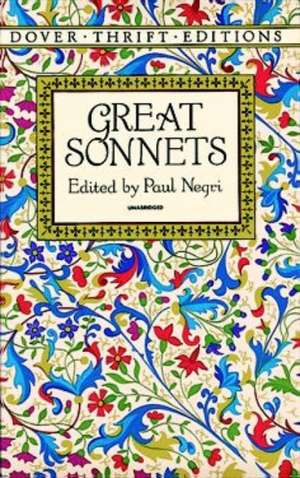 Great Sonnets de Dover Thrift Editions