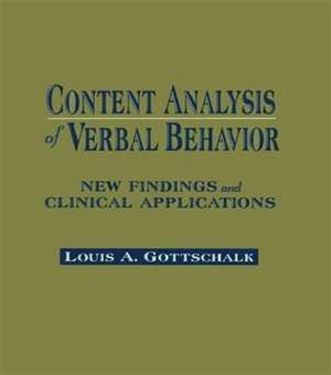 Content Analysis of Verbal Behavior