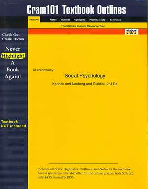 Studyguide for Social Psychology by Kenrick, ISBN 9780205332977 de 2nd Ed Kenrick and Neuberg and Cialdini