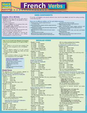 French Verbs Laminate Reference Chart