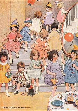 Little Girls at Party - Birthday Greeting Card de Frances Tipton Hunter