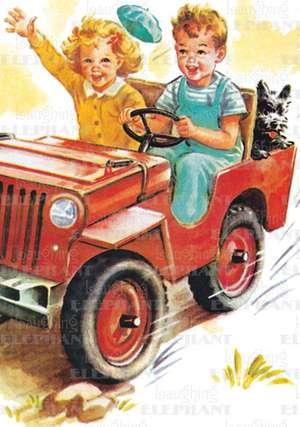 Boy & Girl Riding in Car - Romance Greeting Card de Blue Lantern Publishing
