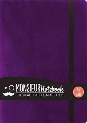 Monsieur Notebook Leather Journal - Purple Ruled Medium de Hide Stationery Ltd
