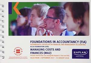 MA2 Managing Costs and Finance - Pocket Notes