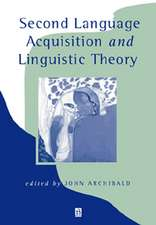 Second Language Acquisition and Linguistic Theory