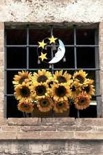 Happy Yellow Sunflowers, the Moon and Stars Decorate a Window in Italy Journal