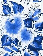 Lined Notebook 8.5 X 11 Extra Large - Indigo Blue Flowers