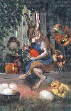 Rabbit Painting Eggs - Easter Greeting Card