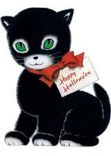 Set of 6 Happy Halloween Black Cat Halloween Greeting Card [With Envelope]
