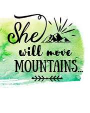 She Can Move Mountains: A Pretty Notebook for All Your Writing Needs.