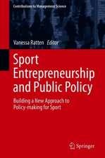 Sport Entrepreneurship and Public Policy