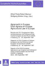 Agrarrecht in Europa / Droit Agraire En Europe / Agricultural Law in Europe