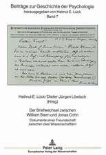Der Briefwechsel Zwischen William Stern Und Jonas Cohn