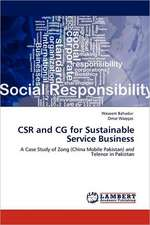 CSR and CG for Sustainable Service Business