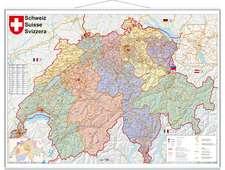 Schweiz Postleitzahlen 1 : 400 000. Wandkarte laminiert mit Metallbeleitung
