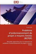 Problème d'ordonnancement de projet à moyens limités (RCPSP)
